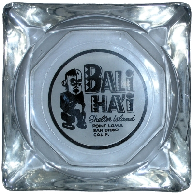 Glass ashtray from the Bali Hai Restaurant