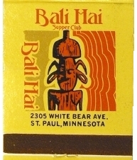 Matchbook cover for the Bali Hai Supper Club