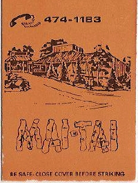 Matchbook cover for Mai Tai restaurant