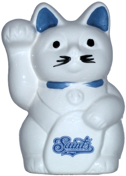 Maneki Neko with Saint Paul Saints logo