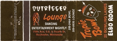 Matchbook cover for the Outrigger Lounge