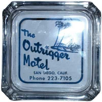 Glass ashtray from the Outrigger Motel