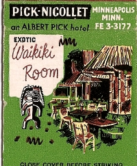 Matchbook cover for the Waikiki Room